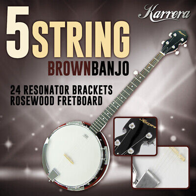 New Karrera 5 String Bluegrass Resonator Banjo Natural Finish