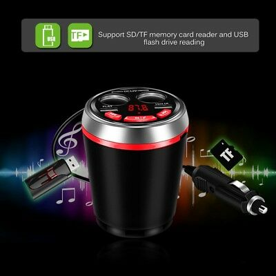 Bluetooth FM Transmitter Car MP3 Player Car Kit Cup Holder Cigarette Lighter
