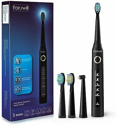 Fairywill Electric Toothbrush USB Rechargeable Black/White 5 Modes 3 Brush Heads