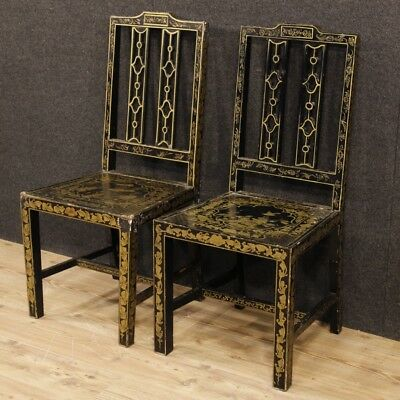 Pair of French chairs lacquered chinoiserie furniture armchairs wood living room