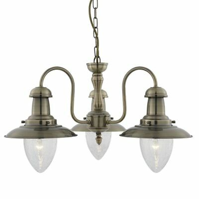 Searchlight 3 LIGHT CEILING, ANTIQUE BRASS WITH SEEDED GLASS SHADES 5333-3AB