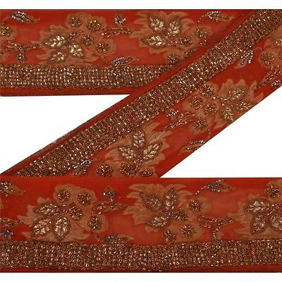 Sanskriti Vintage 1 Yd Sari Border Antique Hand Beaded Woven Trim Sewing Lace