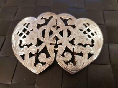 Unique Victorian Sterling Silver Belt Buckle Large