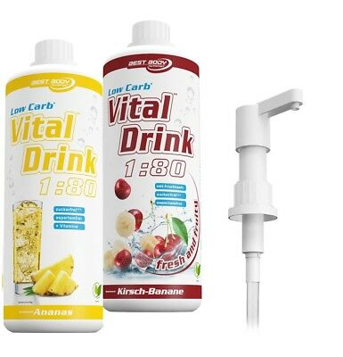 Best Body Nutrition Low Carb Vital Drink - 2 Flaschen á 1000 ml + 1 Dosierpumpe