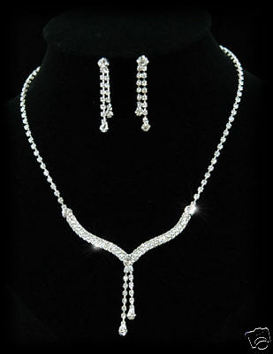 Bridal Wedding Bridesmaid Party Prom Dangle Crystal Necklace Earrings Set S1086