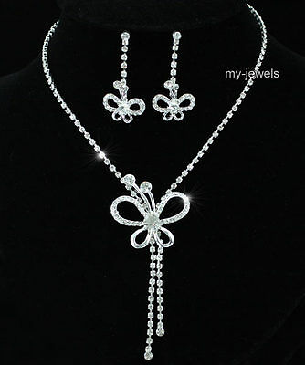 Bridal Wedding Bridesmaid Butterfly Silver Plated Necklace Earrings Set S1174