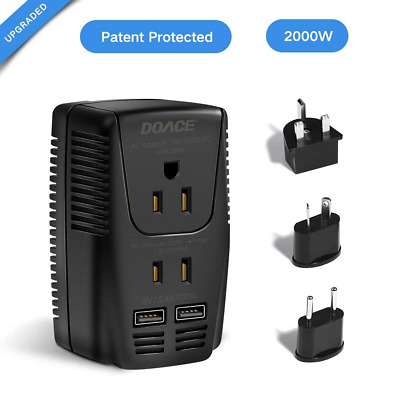 2000w Travel Power Converter Adapter 2 USB Ports,220v to 110v Voltage Hair Dryer