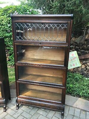 Antique Barrister Bookcase Leaded Glass 4 Stack Lundstrum