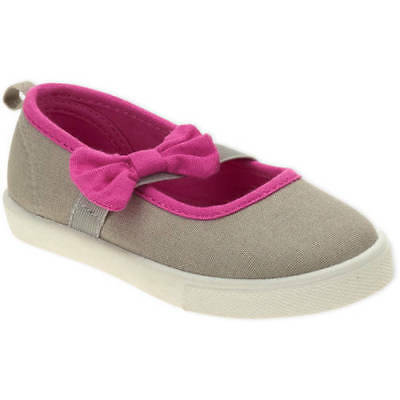 Faded Glory Toddler Girls' Mary Jane GRAY/PINK  Canvas Shoes SIZE 7.8.9.10,11