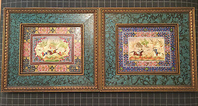 Pair Of Signed Fine Antique Persian Miniature Painting Marquetry Khatam Frame