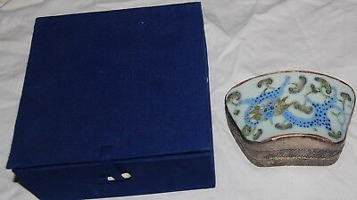 Antique Asian Chinese Silver Plate Metal Porcelain Jewelry Trinket Box Dragon
