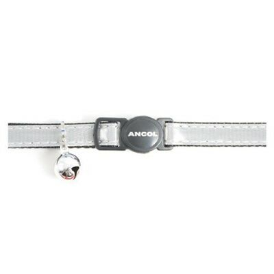 Gloss Reflective Cat Collar With Safety Buckle Silver - Ancol Bell Release