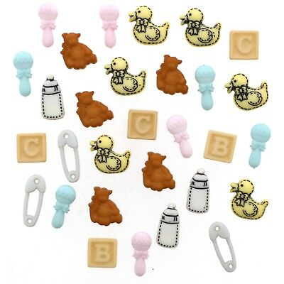Jesse James Buttons - Dress It Up  - TINY BABY Diaper Pins Baby Ducks Rattles