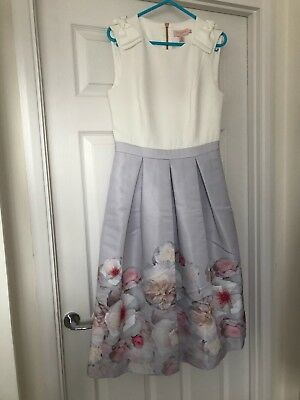 eb4a42259 NEW TED BAKER GILITH Chelsea Grey Pleated Midi Dress Size 2 UK 10 ...