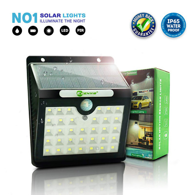 Motion Sensor 33 LED Wireless Powered Waterproof Security Wall Solar Lights NEW