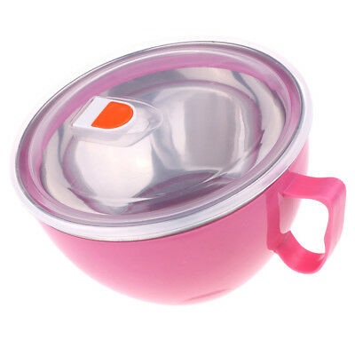 Insulated Food Jar Soup Noodles Thermal Hot Cold Lunch Container Bowl Pink