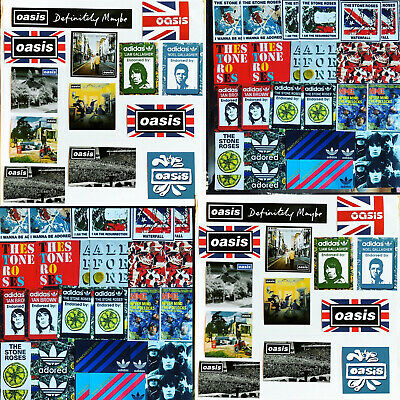50 x Oasis & Stone Roses Laptop Stickers - Noel Liam Gallagher Ian Brown Manches