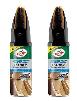 2 x Turtle Wax Power Out Car Interior Leather Cleaner Conditioner