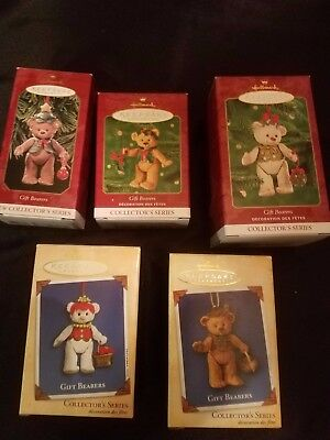 Lot of 5 Hallmark Gift Bearers Collectors Series 1999, 2000, 2001, 2002, 2004