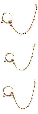 Jwellmart Indian Gold Plated Bridal Bollywood Wedding CZ  Nose Ring Nath Hoop