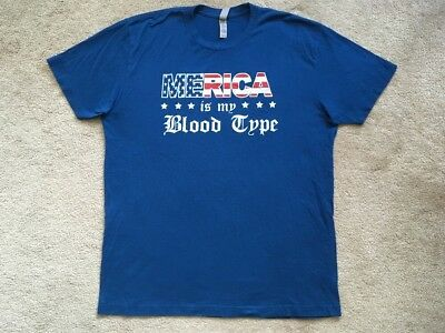 MERICA IS MY BLOOD TYPE American Flag T Shirt Tee BLUE RED WHITE LARGE MSRP $30
