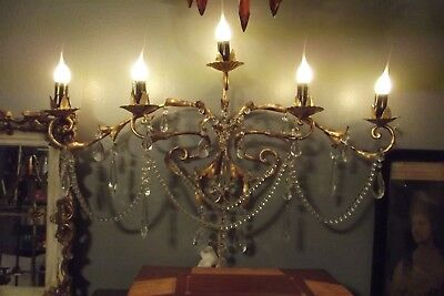 Antique French Wall Chandelier Sconce Light Lamp Vintage Gold Gilt 5 arm