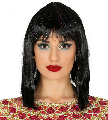 Black Shoulder Length Wig Egyptian Bob Style Sparkle Ladies Fancy Dress Hair NEW