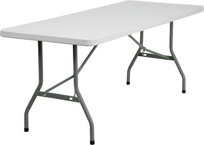 "Plastic Folding Table 30""W x 72""L Granite White Gray Powder Coat"