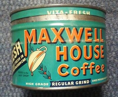 Vintage Maxwell House Coffee 1 Lb Tin High Grade Regular Grind