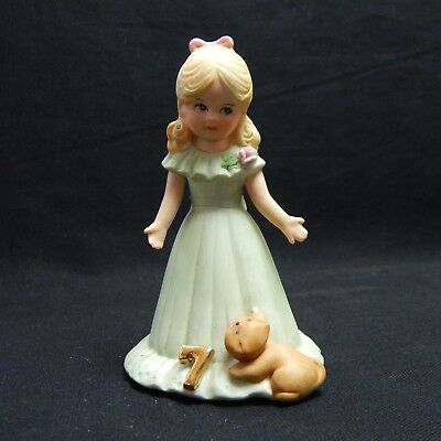 1981 Enesco Porcelain Figurine GROWING UP BIRTHDAY GIRLS Blonde Age 7