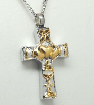 Two-Tone Claddagh Cross Urn Necklace || Celtic Cremation Jewelry