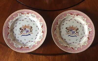 """Pair 19th century French Samson Chinese Export Armorial Porcelain 9 1/4"""" plates"""