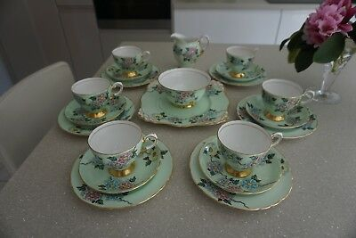 Fabulous hand decorated Tuscan 21 piece Teaset, green floral, Pattern C4554