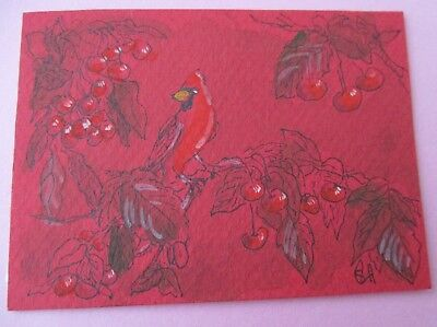 ACEO ART CARD CARDINAL BIRD & CHERRIES SIGNED ORIGINAL 2014 OoAK ATC DRAWING #03