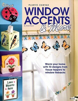 Window Accents & More, Butterflies Birds Flowers plastic canvas pattern book NEW