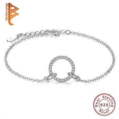 Circular Hearts Crystal Accented 925 Sterling Silver Charm Bracelets for Women