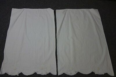 Vintage White Pillowcases-Pair-Large White Daisies-French Knots/Hemstitch- SALE