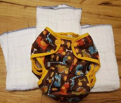Imagine Prefold Cloth Diaper- 3 Lot W/blueberry Diaper Cover Dinosaurs