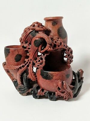 Antique Chinese Soapstone Figural Group Vase Relief Vintage China Late 19th C.