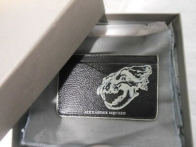 NWT Alexander McQueen $295 Lion Skull Leather Card Case w/Box,Black/Off White