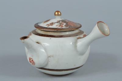 R898: Japanese Kutani-ware Colored porcelain Flower pattern TEAPOT Kyusu Sencha