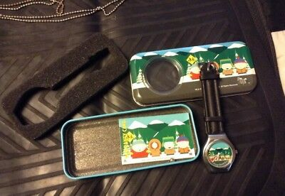 South Park 1998 Comedy Central Wrist Watch With Tin Case Vintage Mint Condition