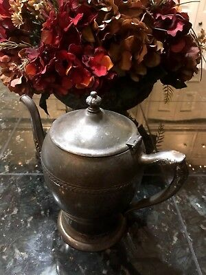 """7"""" Silver on / over Copper Silverplate Tea Coffe Pot Pitcher Antique Vintage"""
