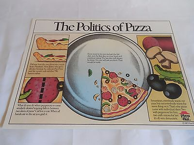 """Pizza Hut Placemat """"The Politics of Pizza"""" Unused 1985 Care Bears On Back"""