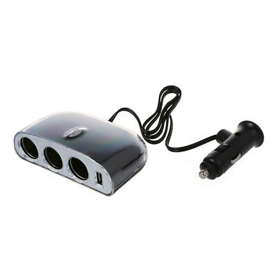 Triple 3 Way USB Socket Car Cable Cigarette Power Adapter Lighter Splitter U4E4