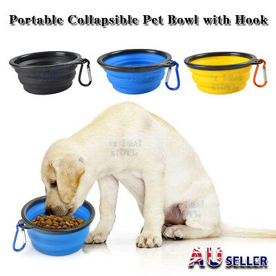 Pet Cat Dog Bowl Travel Portable Collapsible Feeding Water Dish Food Feeder