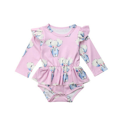 Elephant Newborn Baby Girls Cotton Romper Tops Dress Bodysuit Outfits Clothes