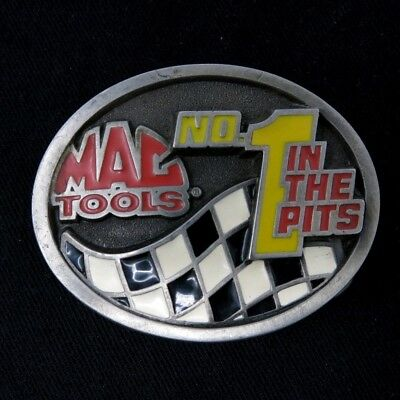 Vtg Mac Tools No 1 in the Pits Checkered Flag Collector Series Belt Buckle