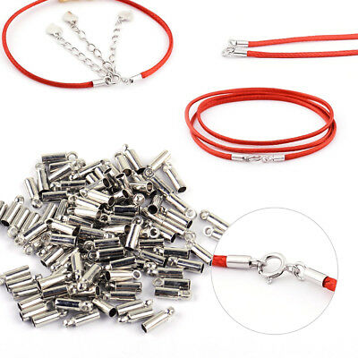 100x Argent tube cordon cuir collier embouts bijoux conclusions Jewelry Findings