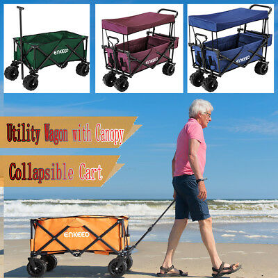 Heavy Duty Folding Garden Trolley Cart Wagon 4 Wheel Pull Along Canopy Shopping